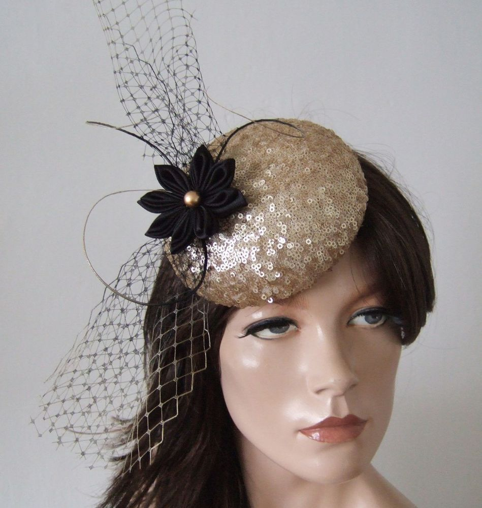"Gold Black Sequin Kanzashi Flower, Veil and Quills Button Headpiece Cocktail Hat ""Meredith"""